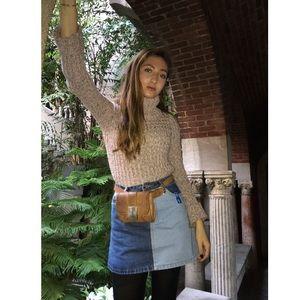 Missguided two-tone denim mini skirt
